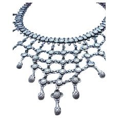 Elaborate Sterling Silver Bib Necklace - a Feast for the Eyes