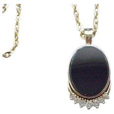 Pretty Panetta Pendant Necklace - Black, Diamante Rhinestones