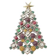 Colorful Rhinestone Christmas Tree Pin Signed