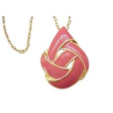 02 - Pretty Napier Dusty Rose Enamel Pendant Necklace