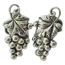 12 - Danecraft Sterling Grape Leaf, Grapes Earrings