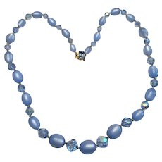 11 - Pale Blue Moonglow and Crystal Necklace