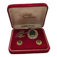 Jade Sterling Pin/Pendant and Earrings MIB