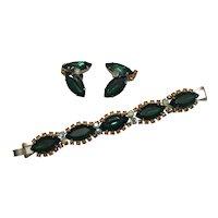 Spectacular 1950's Bracelet, Earrings - Green Navettes