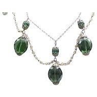 Fabulous Festoon Necklace - Green Beads - Filigree