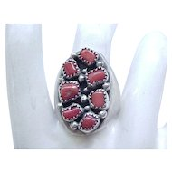 Massive Sterling & Coral Native American Ring - Size 11 1/2