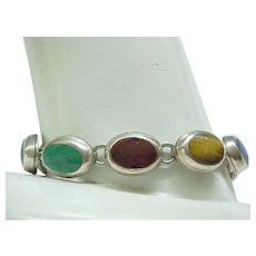 08 - Sterling Silver and Natural Stone Bracelet