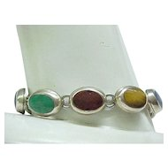 Sterling Silver and Natural Stone Bracelet - Tiger Eye, Lapis, Black Onyx and More
