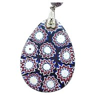 Deep Blue Millefiori Pendant on Silvertone Chain