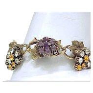 Delightful Rhinestone Bracelet, Brooch - Unsigned Florenza