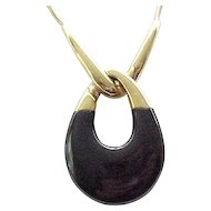 Substantial Crown Trifari Pendant Necklace - Black, Goldtone