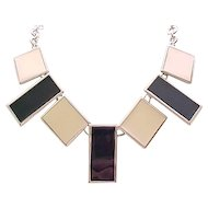 Architectural Black & Cream Enamel Necklace - Monet - Runway
