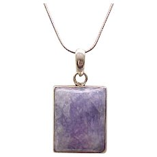 08 - Sterling Pendant Necklace with Purple Natural Stone - Gorgeous!