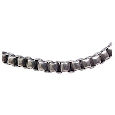 Superb Sterling Silver Heavy Box Chain Necklace Decorative Clasp