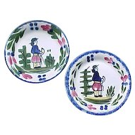 2 Blue Ridge French Peasant Coasters - Southern Potteries