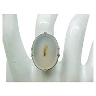 Interesting Sterling Ring - Quartz Stone with Fossil - Size 7