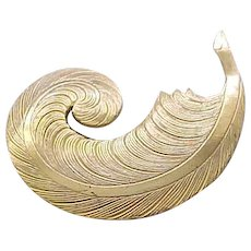 12 - Elegant Miriam Haskell Feather Pin - Russian Gold Finish