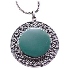 Spectacular Sterling Silver Pendant Necklace with Green Onyx - Eagle Mark