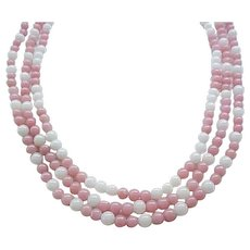 02 - Gorgeous Pink and White Necklace, Glass Beads, Deauville