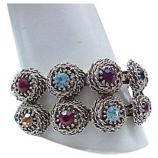 Gorgeous Judy Lee Bracelet Multi Color Rhinestones