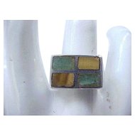 Chunky Sterling Ring Inlaid Stones - Taxco - Size 7 1/4