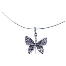 01 - Sterling Silver Butterfly Pendant and Chain Necklace
