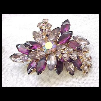02 - Superb Beaujewels Purple Pin/Brooch and Earrings