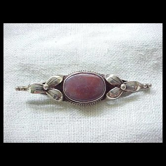 Lovely Sterling and Jasper Brooch Pin