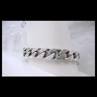 Heavy Curb Chain Sterling Silver Bracelet -  52 grams