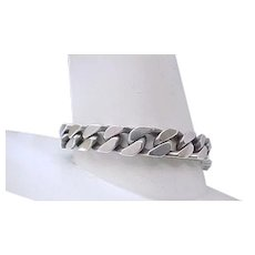 Heavy Curb Chain Sterling Silver Bracelet -  59 grams
