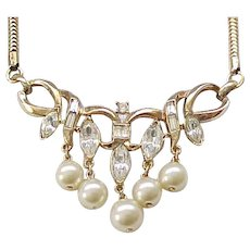 Lovely Crown Trifari 1950's Necklace - Rhinestones, Faux Pearls