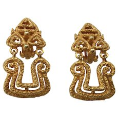 12 - Chunky Highly Textured Kenneth Lane Clip Earrings