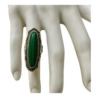 Native American Sterling and Malachite Ring - Size 5