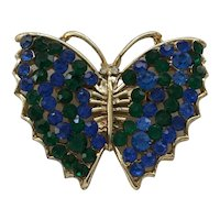 12 - Pretty Blue and Green Rhinestone Butterfly Pin