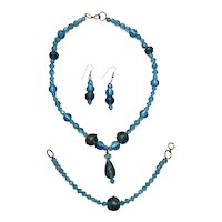 Venetian Bead Necklace, Bracelet, Earrings- Aqua, Wedding Cake