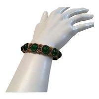 01 - HAR Bracelet Green Lucite Cabochons