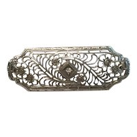 14K White Gold and Diamond Filigree Brooch Pin - Exquisite