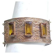 Fabulous Art Deco Bracelet - Amber Rhinestone Baguettes, Exceptional Chased Design