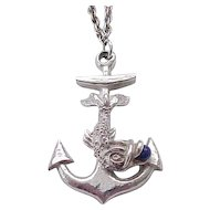 Spectacular Hattie Carnegie Fish, Anchor Necklace - Silvertone Metal - Nautical