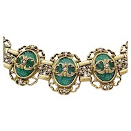 Awesome Victorian Revival Bracelet - Molded Glass Stones