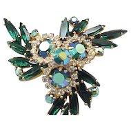 Juliana Pin, Earring Demi Parure - Emerald Green Navettes, Aurora Borealis