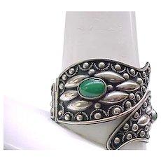 09 - Impressive Silver Bracelet - Not Sterling - Green Cabochons