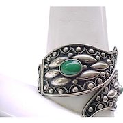 Impressive Silver Bracelet - Not Sterling - Green Cabochons