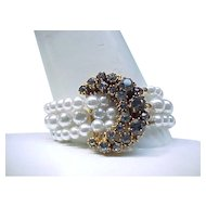 Elegant Faux Pearl Necklace and Bracelet - Black Diamond Rhinestones