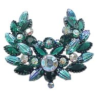 Stunning  Rhinestone Brooch - Unusual Molded Glass Rhinestones