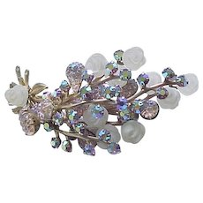 Spectacular Brooch Molded Glass Roses, Art Glass and AB Rhinestones