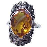 05 - Sterling Ring Amber Stone Marcasites - Size 8 1/4