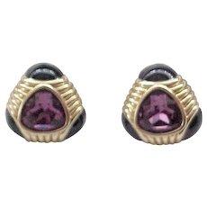 Stunning Swarovski Earrings - Purple Rhinestones, Black Enamel