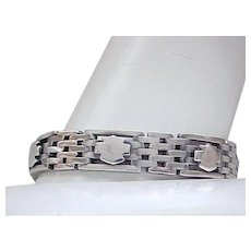 Sterling Silver Tank Track Bracelet with Shields