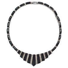 Fabulous Sterling and Onyx Necklace - Must See